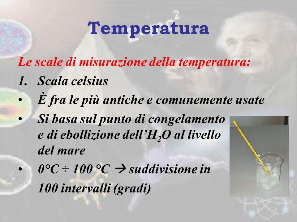 Temperatura Le scale di misurazione della temperatura: Scala celsius