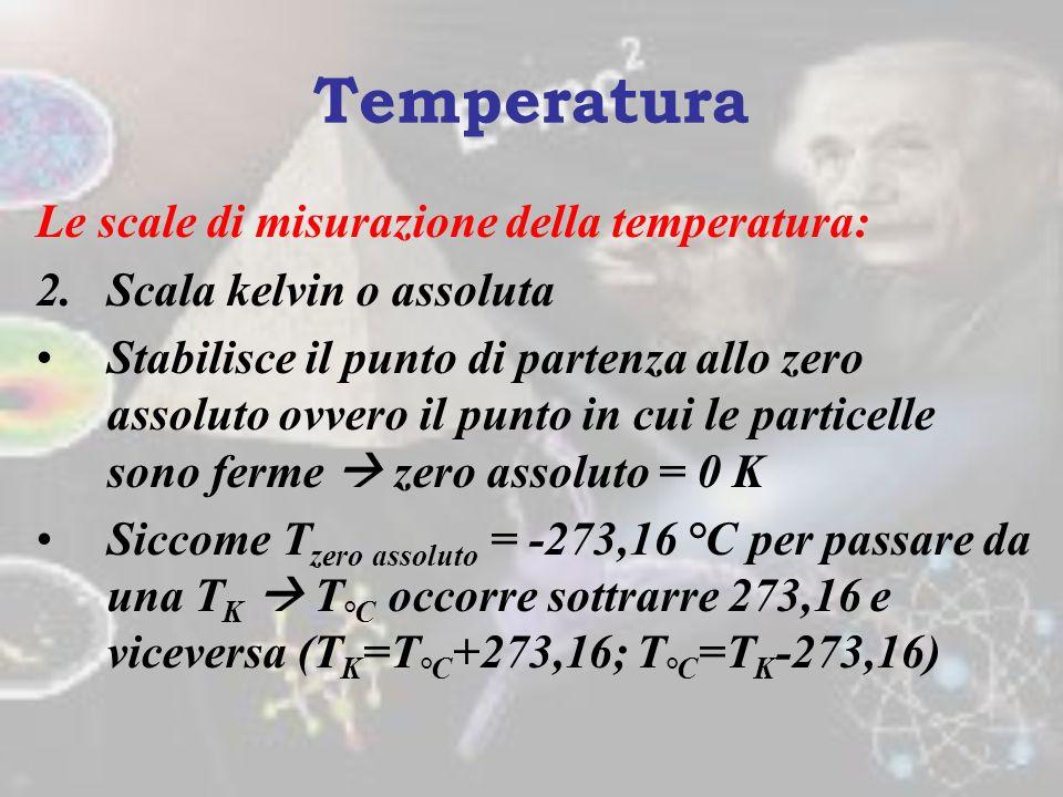 Temperatura Le scale di misurazione della temperatura: