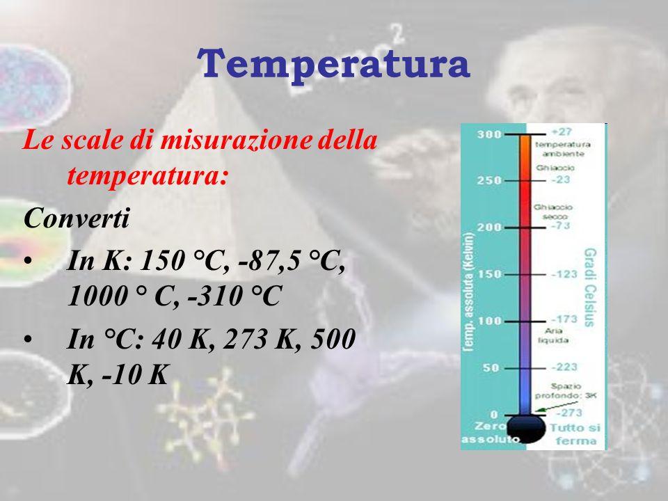Temperatura Le scale di misurazione della temperatura: Converti