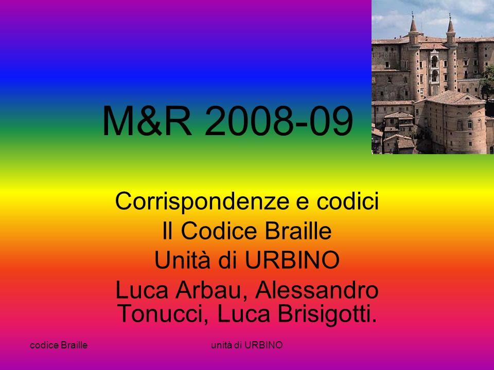 M&R 2008-09 Corrispondenze e codici Il Codice Braille Unità di URBINO