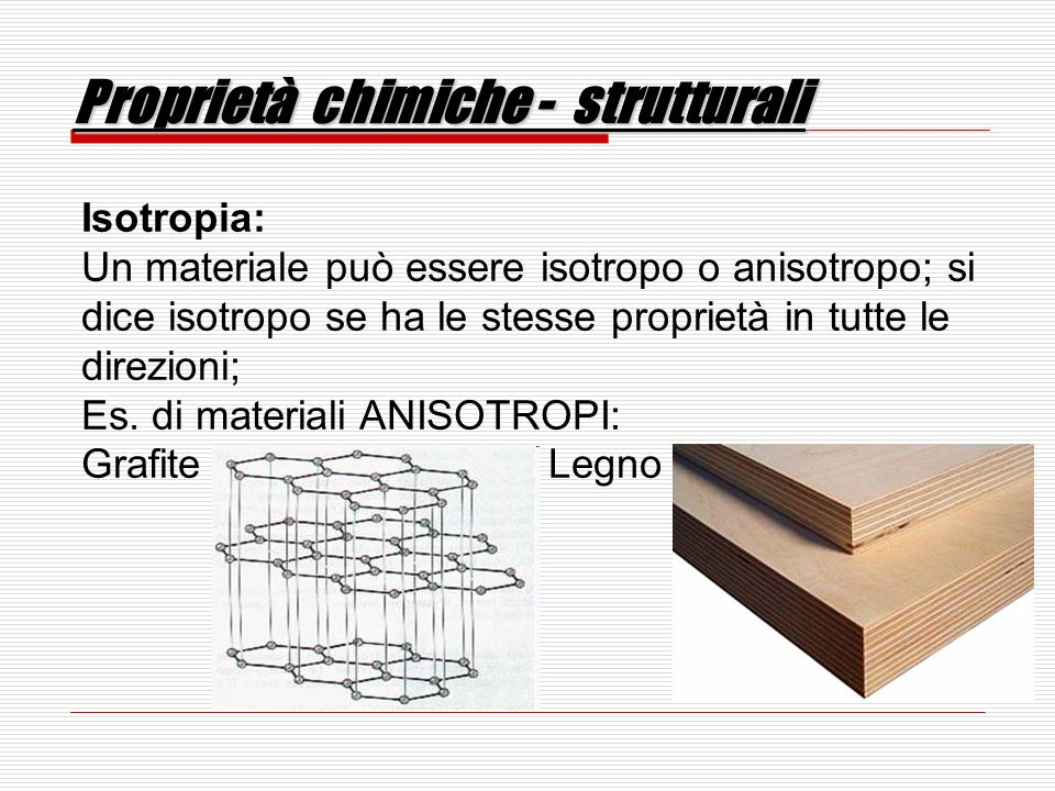 Proprietà chimiche - strutturali