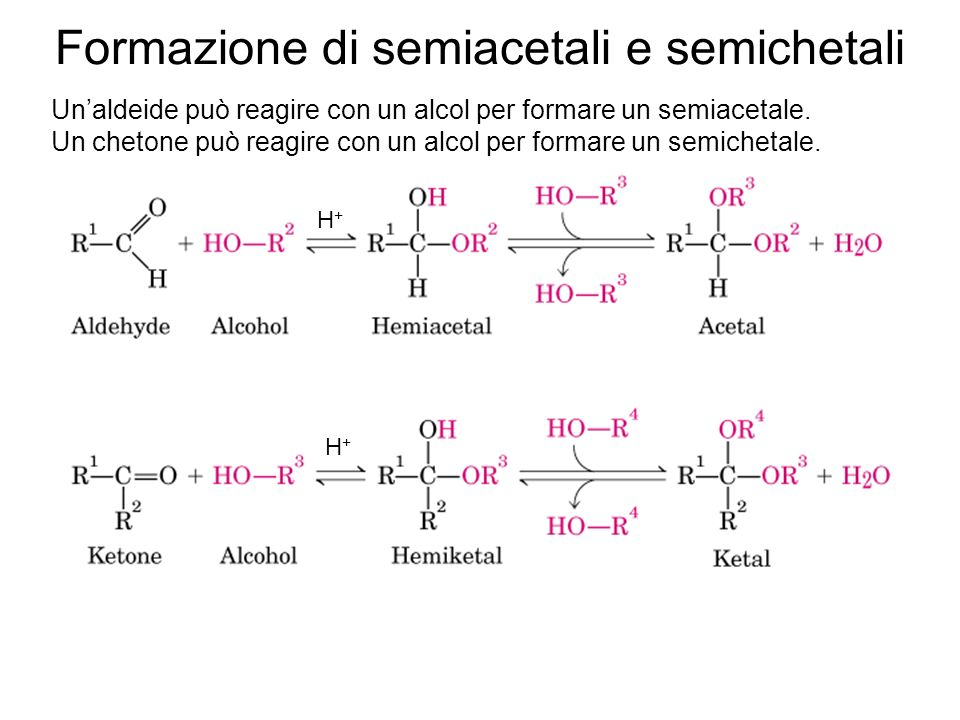 Formazione di semiacetali e semichetali