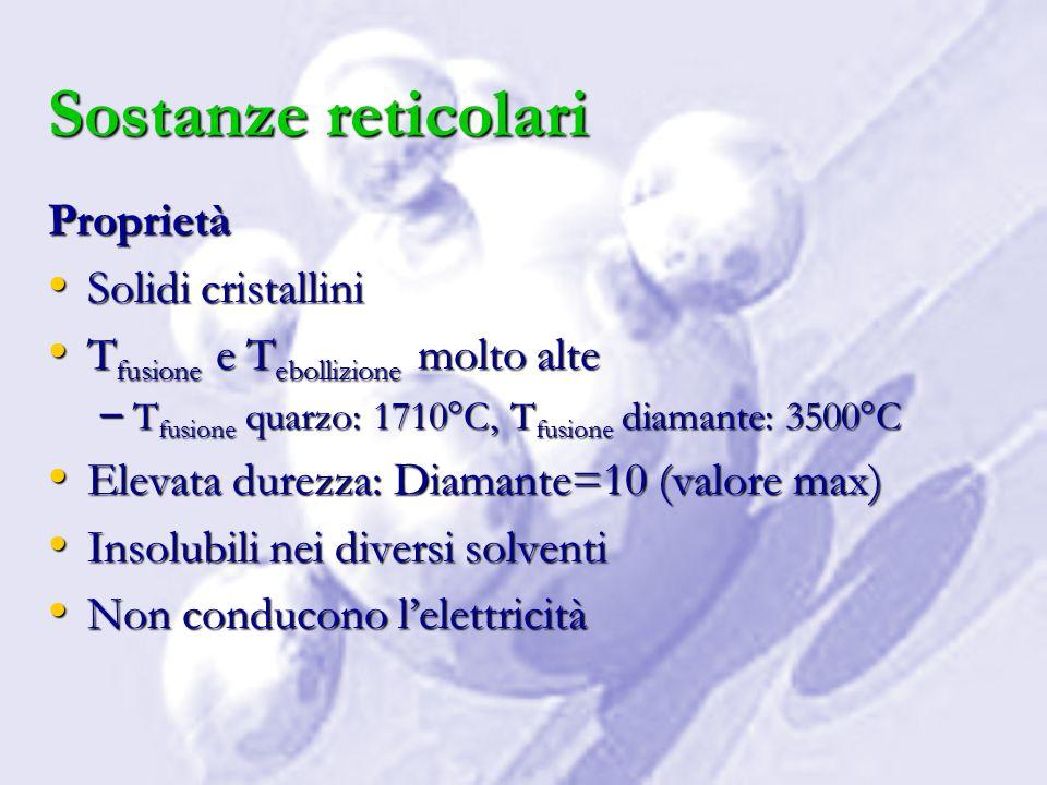 Sostanze reticolari Proprietà Solidi cristallini