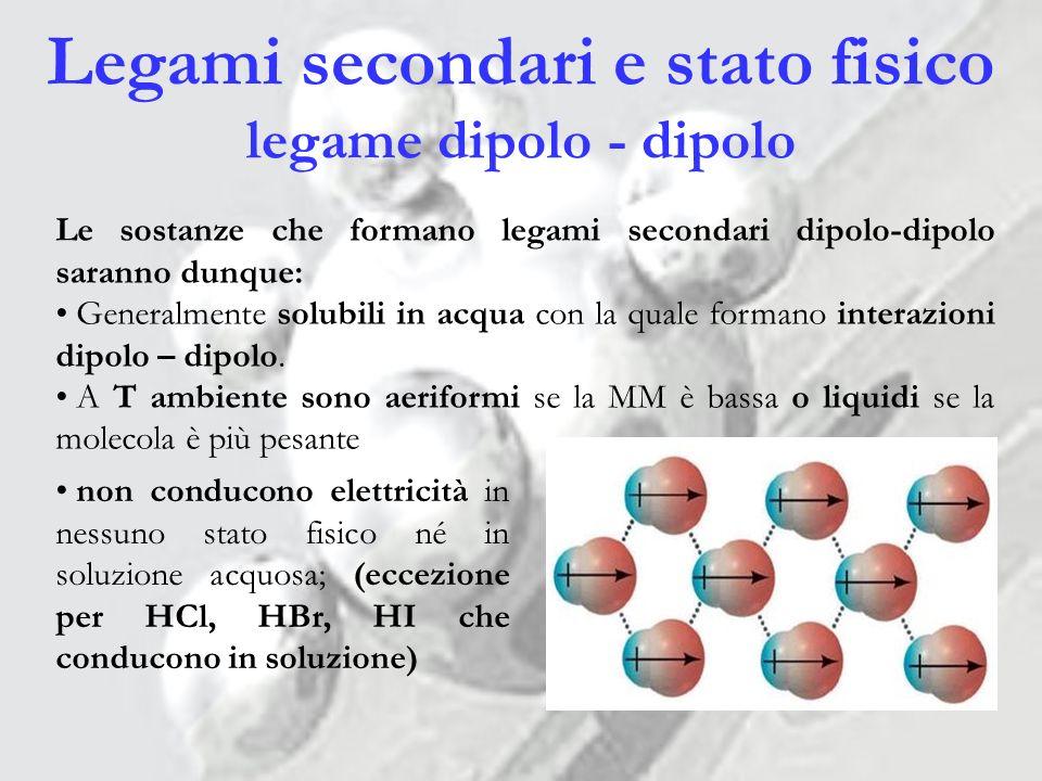 Legami secondari e stato fisico legame dipolo - dipolo
