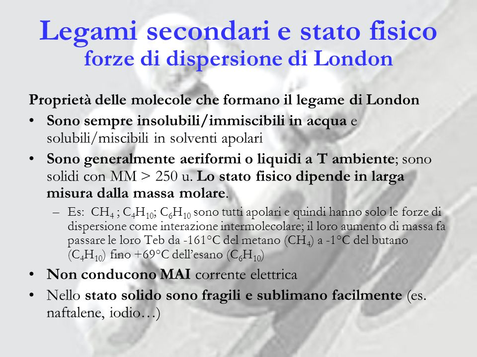 Legami secondari e stato fisico forze di dispersione di London