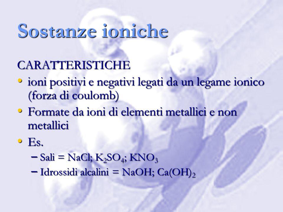 Sostanze ioniche CARATTERISTICHE