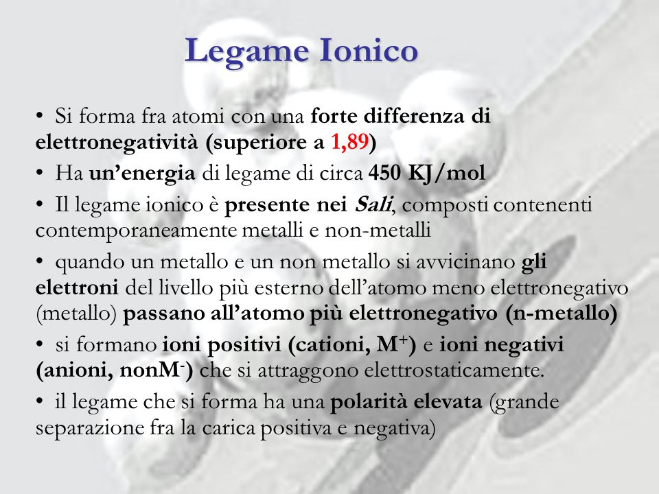 Legame Ionico Si forma fra atomi con una forte differenza di elettronegatività (superiore a 1,89)