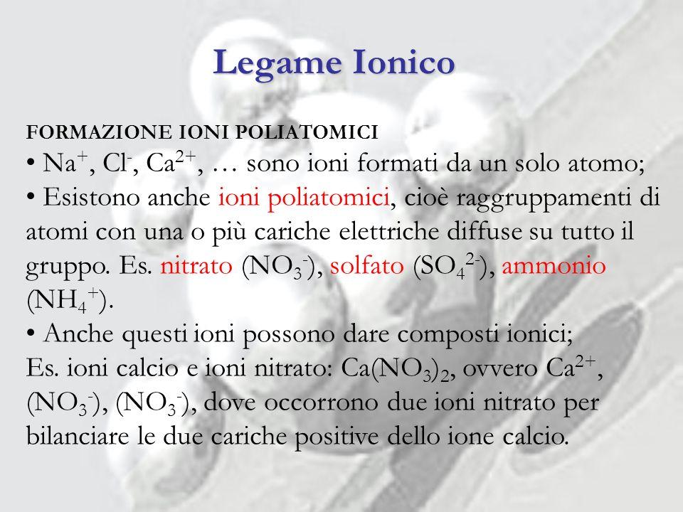 Legame Ionico Na+, Cl-, Ca2+, … sono ioni formati da un solo atomo;