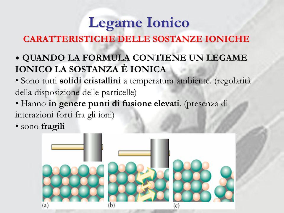 CARATTERISTICHE DELLE SOSTANZE IONICHE