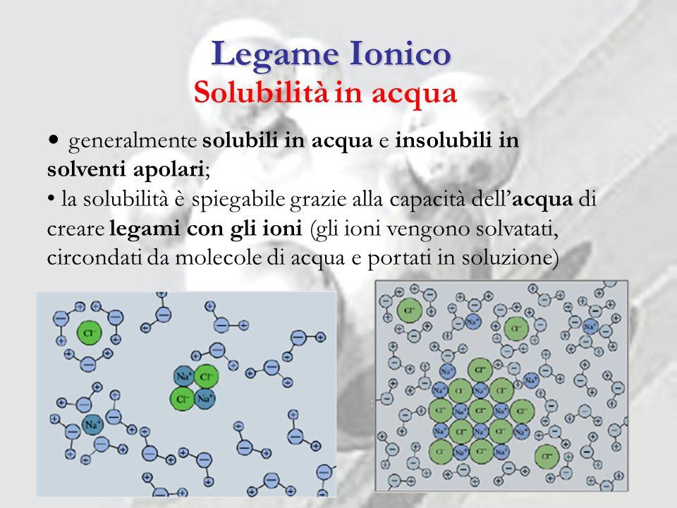 Legame Ionico Solubilità in acqua