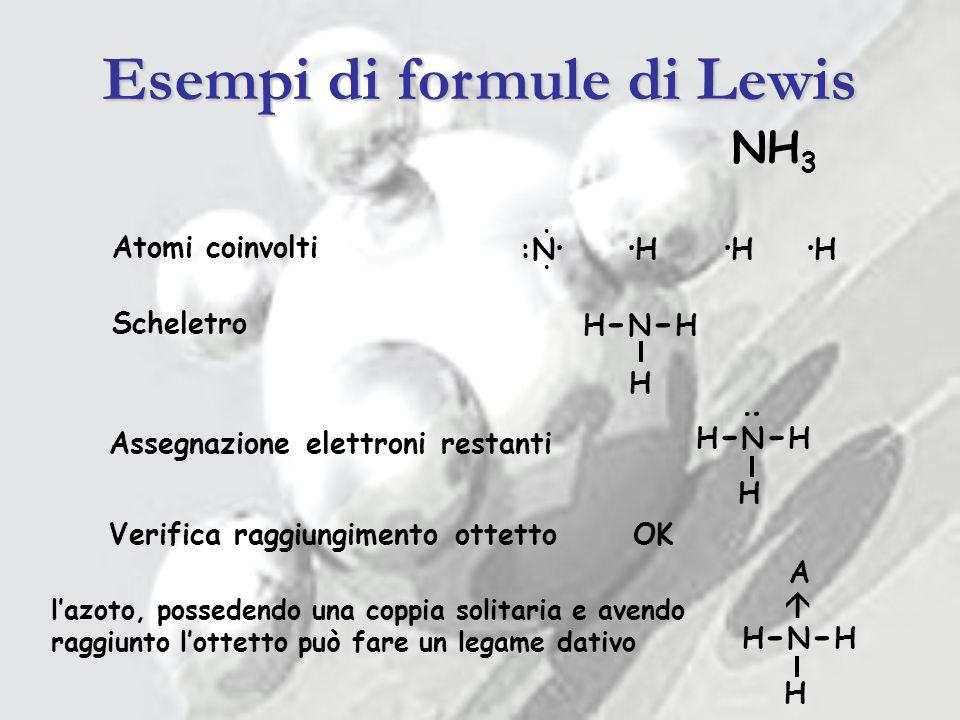 Esempi di formule di Lewis
