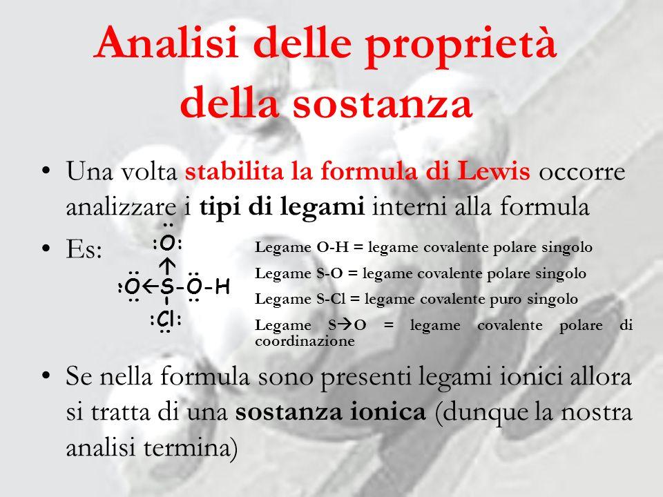 Analisi delle proprietà della sostanza