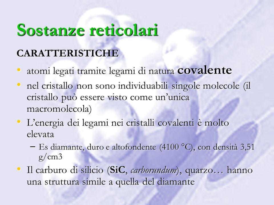 Sostanze reticolari CARATTERISTICHE
