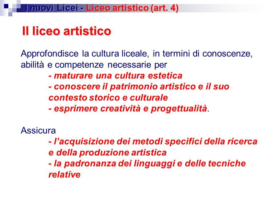 Il liceo artistico I nuovi Licei - Liceo artistico (art. 4)