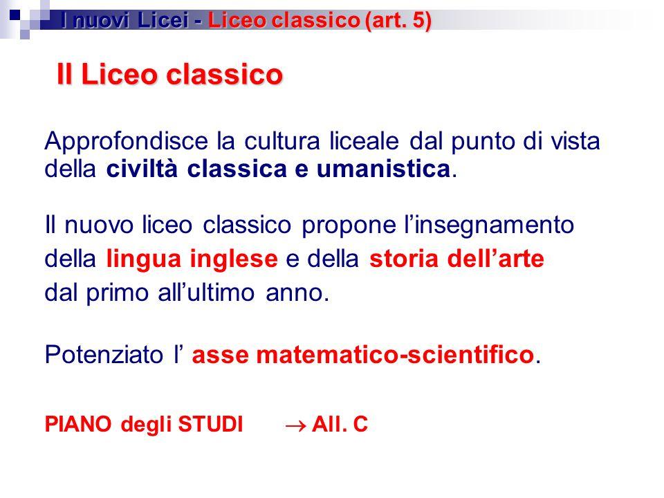 I nuovi Licei - Liceo classico (art. 5)