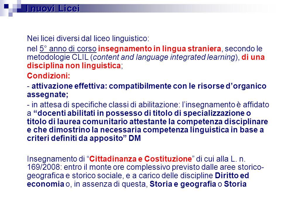 I nuovi Licei Nei licei diversi dal liceo linguistico:
