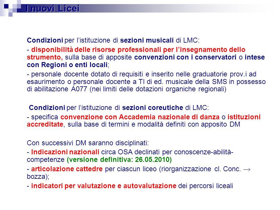 I nuovi Licei Condizioni per l'istituzione di sezioni musicali di LMC: