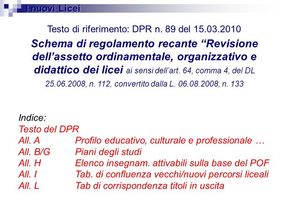 Testo di riferimento: DPR n. 89 del 15.03.2010