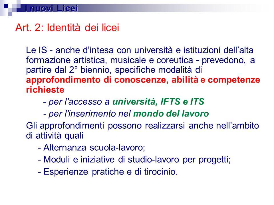 Art. 2: Identità dei licei
