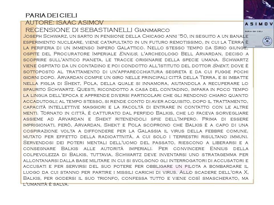 RECENSIONE DI SEBASTIANELLI Gianmarco