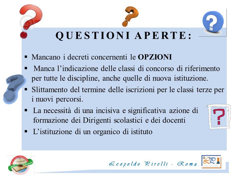 QUESTIONI APERTE: Mancano i decreti concernenti le OPZIONI
