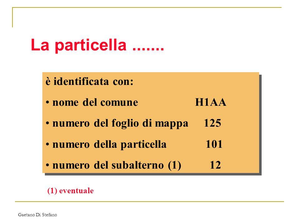 La particella ....... è identificata con: nome del comune H1AA