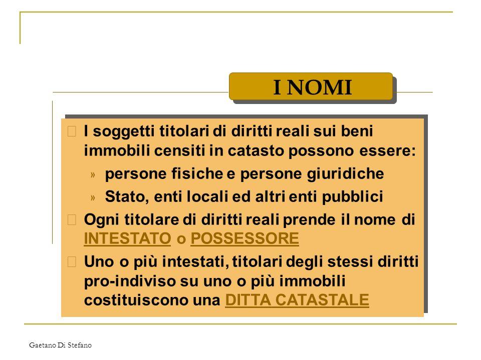 I NOMI I soggetti titolari di diritti reali sui beni immobili censiti in catasto possono essere: persone fisiche e persone giuridiche.