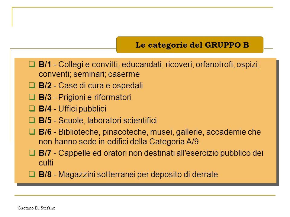 Le categorie del GRUPPO B