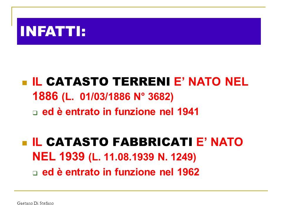 INFATTI: IL CATASTO TERRENI E' NATO NEL 1886 (L. 01/03/1886 N° 3682)