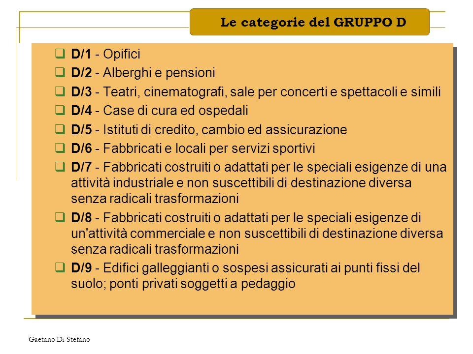 Le categorie del GRUPPO D