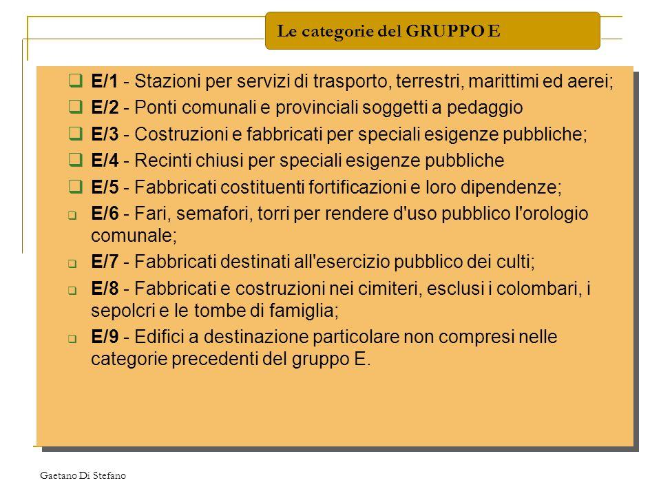Le categorie del GRUPPO E