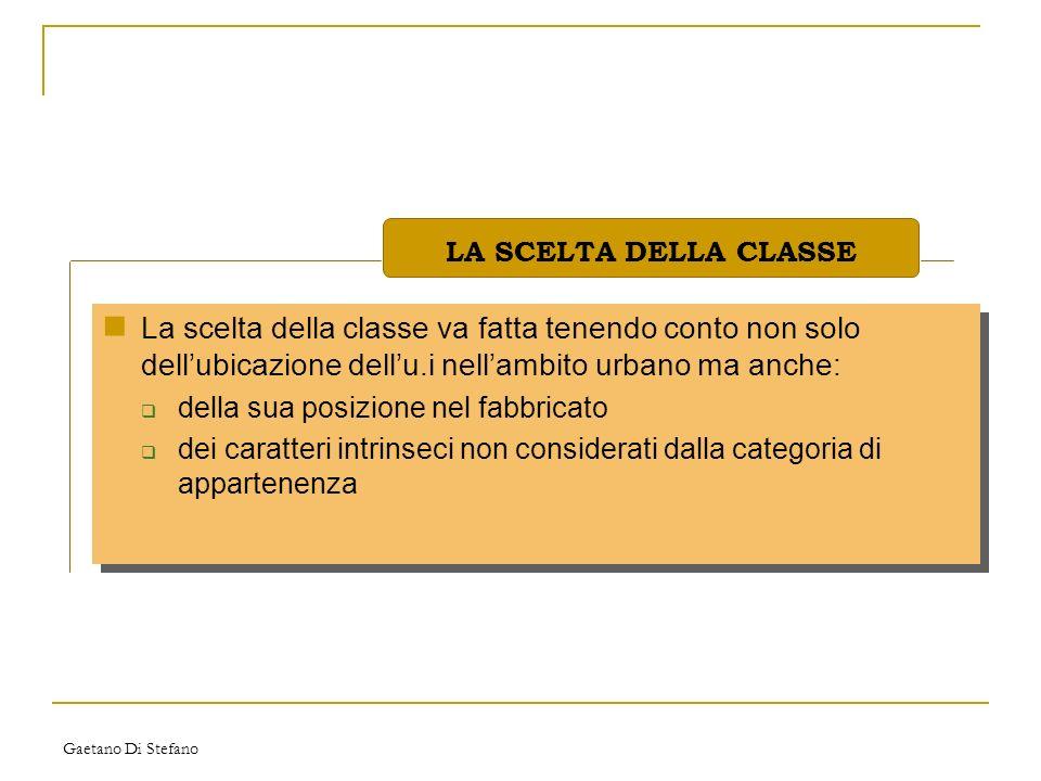 LA SCELTA DELLA CLASSE La scelta della classe va fatta tenendo conto non solo dell'ubicazione dell'u.i nell'ambito urbano ma anche: