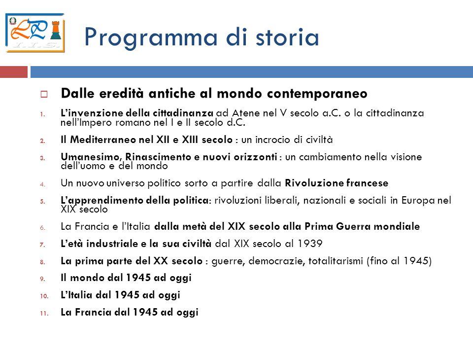 Programma di storia Dalle eredità antiche al mondo contemporaneo