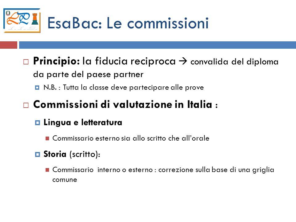 EsaBac: Le commissioni