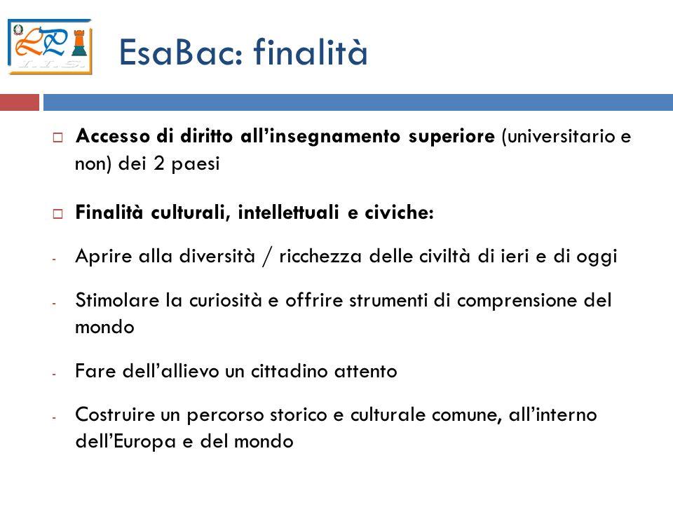 EsaBac: finalità Accesso di diritto all'insegnamento superiore (universitario e non) dei 2 paesi. Finalità culturali, intellettuali e civiche: