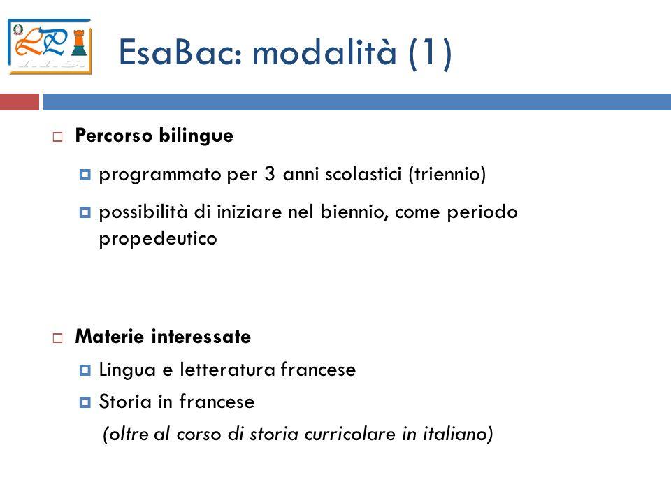 EsaBac: modalità (1) Percorso bilingue