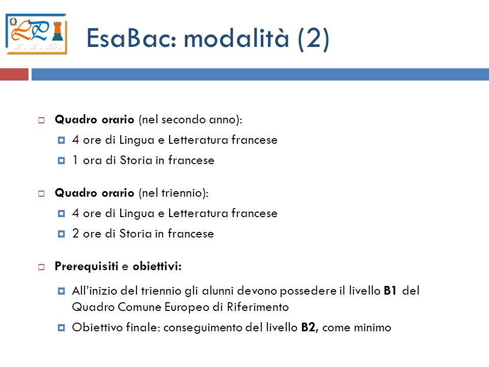 EsaBac: modalità (2) Quadro orario (nel secondo anno):