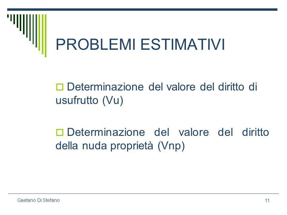 PROBLEMI ESTIMATIVI Determinazione del valore del diritto di usufrutto (Vu) Determinazione del valore del diritto della nuda proprietà (Vnp)
