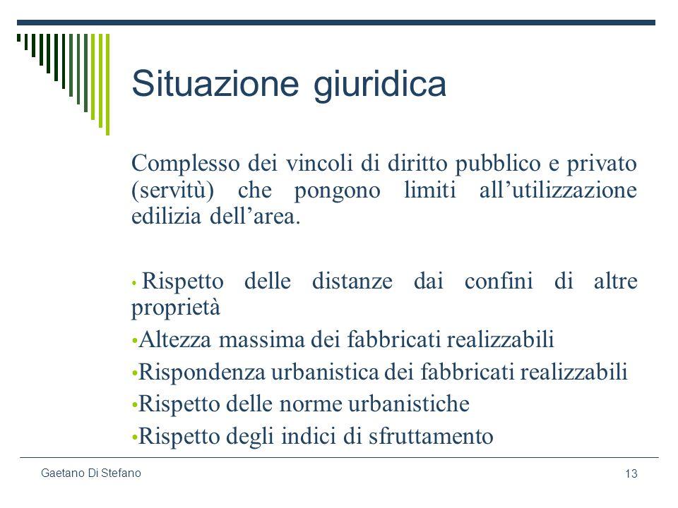 Situazione giuridica Complesso dei vincoli di diritto pubblico e privato (servitù) che pongono limiti all'utilizzazione edilizia dell'area.