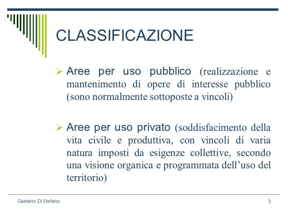 CLASSIFICAZIONE Aree per uso pubblico (realizzazione e mantenimento di opere di interesse pubblico (sono normalmente sottoposte a vincoli)