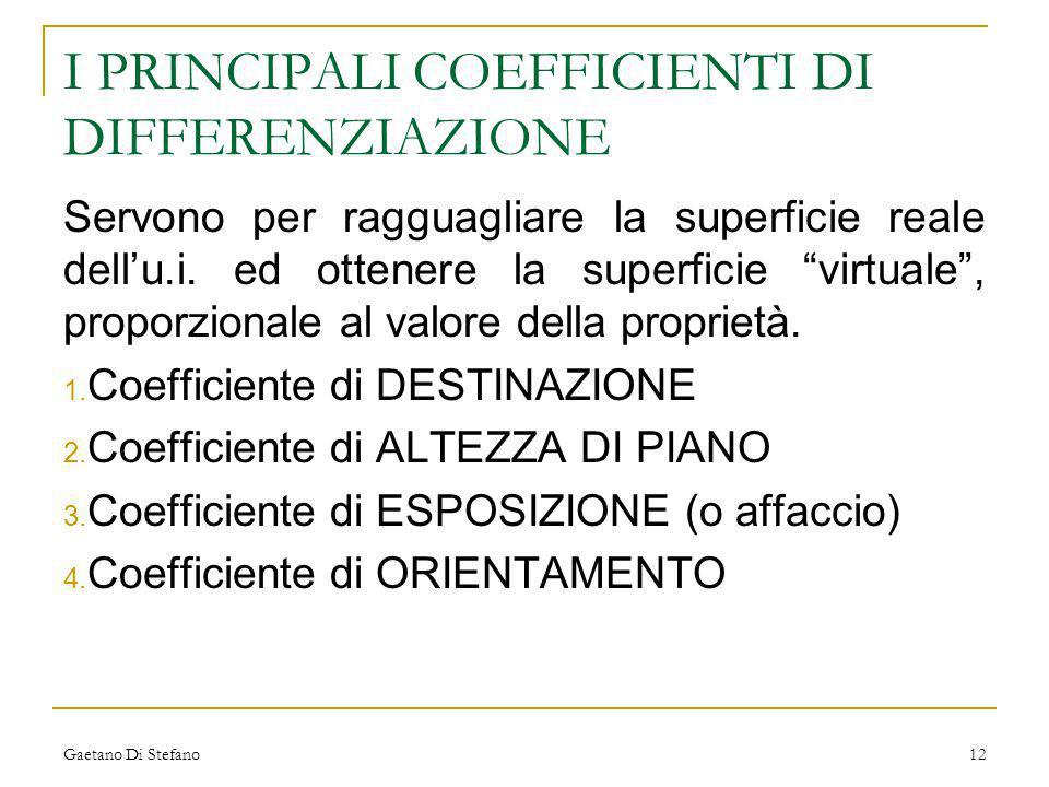 I PRINCIPALI COEFFICIENTI DI DIFFERENZIAZIONE