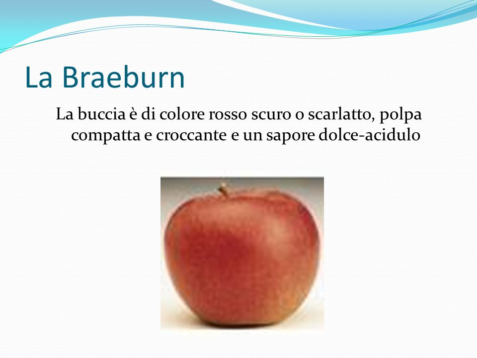 La Braeburn La buccia è di colore rosso scuro o scarlatto, polpa compatta e croccante e un sapore dolce-acidulo.
