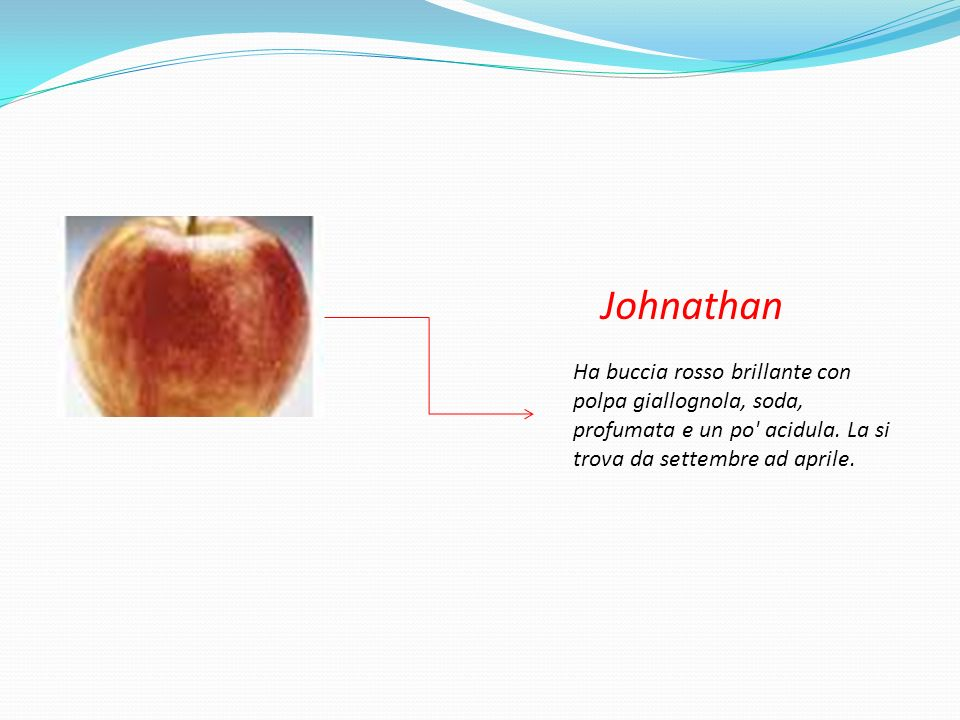 Johnathan Ha buccia rosso brillante con polpa giallognola, soda, profumata e un po acidula.