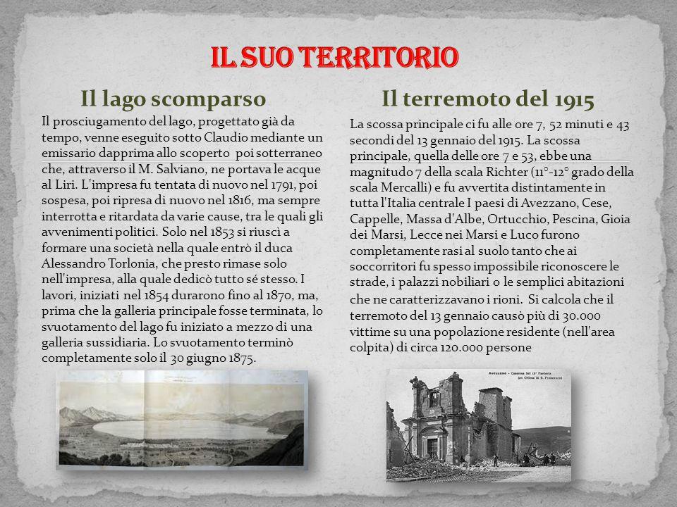 Il SUO TERRITORIO Il terremoto del 1915 Il lago scomparso