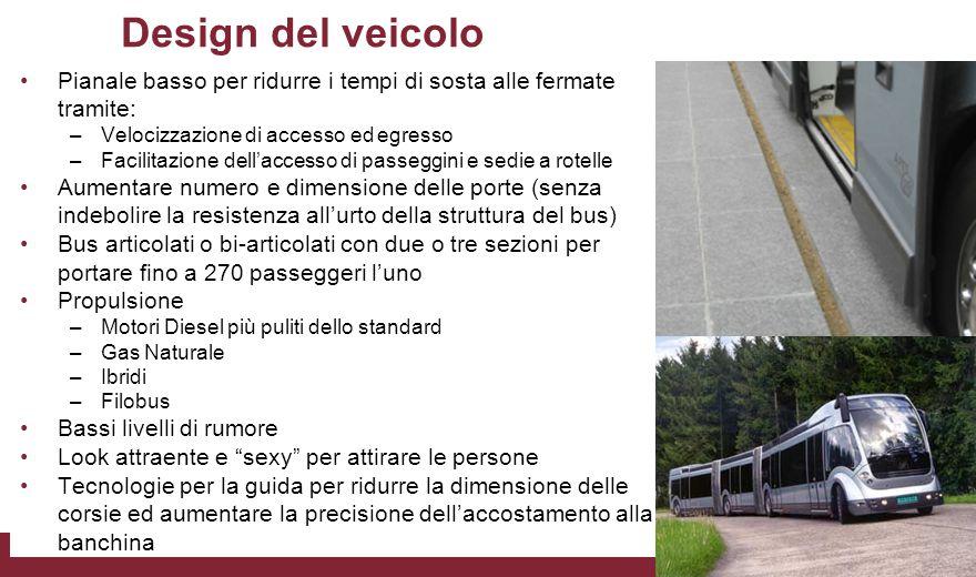 Design del veicolo Pianale basso per ridurre i tempi di sosta alle fermate tramite: Velocizzazione di accesso ed egresso.