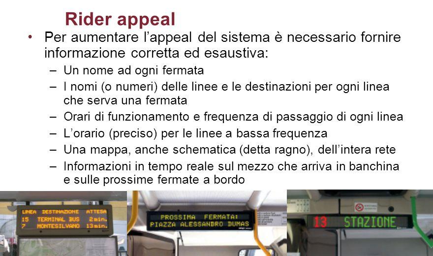 Rider appeal Per aumentare l'appeal del sistema è necessario fornire informazione corretta ed esaustiva: