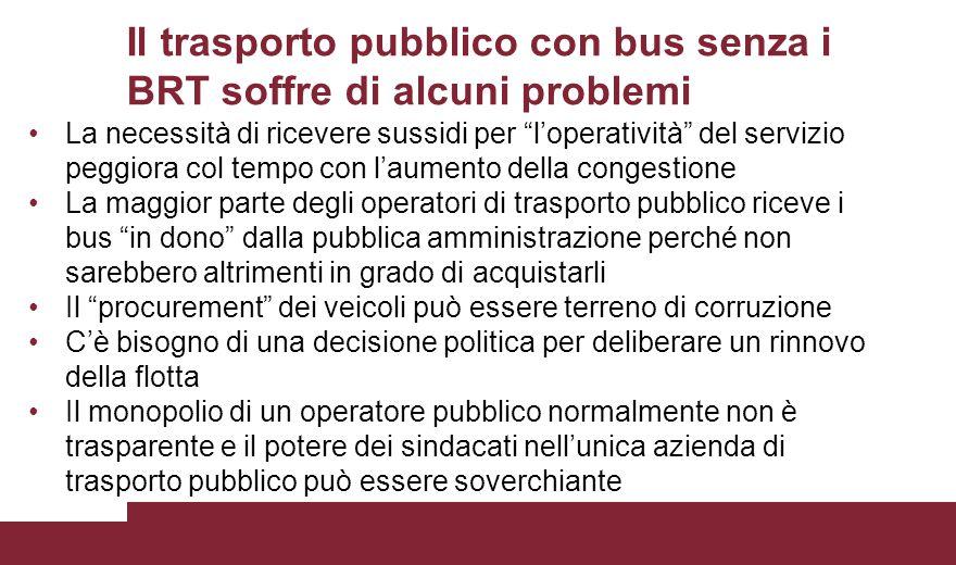 Il trasporto pubblico con bus senza i BRT soffre di alcuni problemi