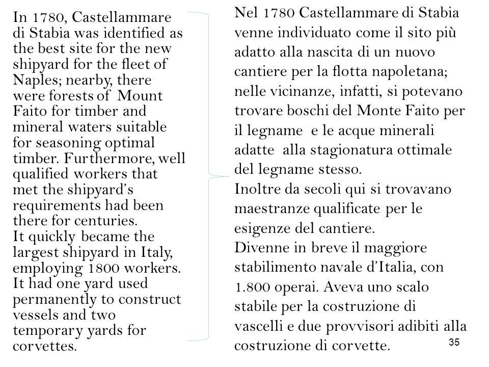 Nel 1780 Castellammare di Stabia venne individuato come il sito più adatto alla nascita di un nuovo cantiere per la flotta napoletana; nelle vicinanze, infatti, si potevano trovare boschi del Monte Faito per il legname e le acque minerali adatte alla stagionatura ottimale del legname stesso.