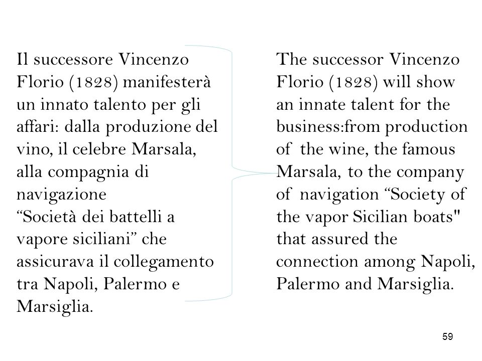 Il successore Vincenzo Florio (1828) manifesterà un innato talento per gli affari: dalla produzione del vino, il celebre Marsala, alla compagnia di navigazione