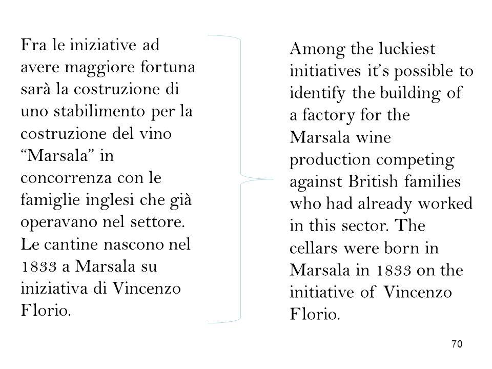 Fra le iniziative ad avere maggiore fortuna sarà la costruzione di uno stabilimento per la costruzione del vino Marsala in concorrenza con le famiglie inglesi che già operavano nel settore. Le cantine nascono nel 1833 a Marsala su iniziativa di Vincenzo Florio.